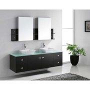 VIRTU USA  Clarissa 72-inch Glass Top Double Bathroom Vanity Set