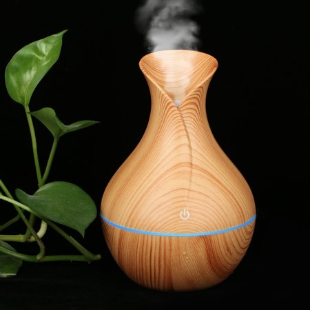 Aroma Essential Oil Diffuser, 130ml Ultrasonic Cool Mist Humidifier Waterless Auto-Off with Color LED Lights Changing for Home, Yoga, Office, Spa, Bedroom, Baby Room - Wood Grain