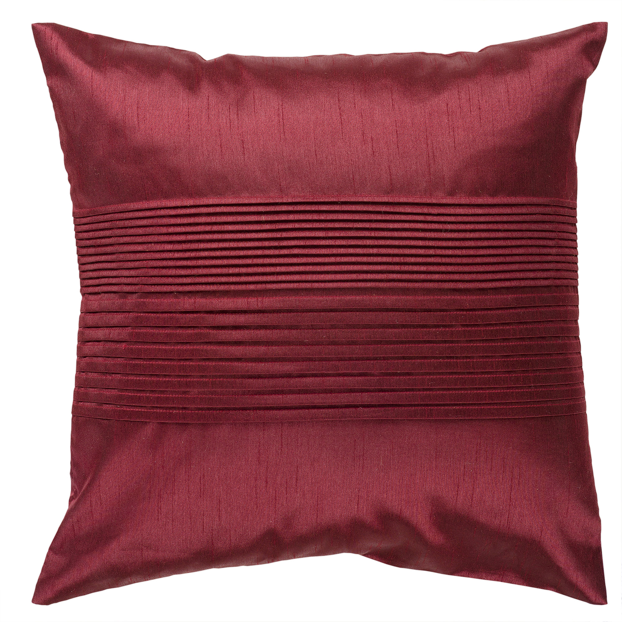 Art of Knot Pleated Hand Crafted Solid Decorative Pillow, Ruby