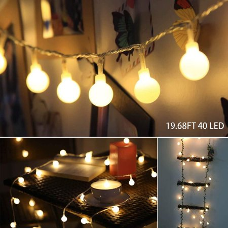 LED String Lights, 19.68FT 40LED Ball String Lights Indoor/Outdoor Waterproof Decorative Light, Battery Powered Starry Fairy String Lights for Bedroom, Garden, Christmas Tree, Wedding Decoration,I0966 ()