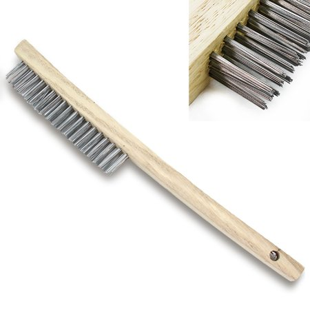 Libman Long Handle - Stark Long Wooden Handle Stainless Steel Wire Cleaning Brush with 4x16 Wire Bristle