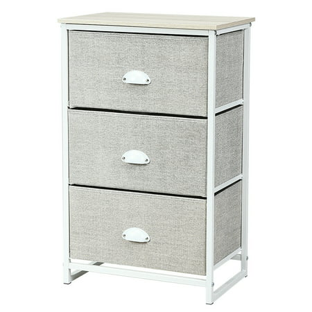 Gymax 3 Drawer Nightstand Side Table Storage Tower Dresser Chest Home Office Furniture ()