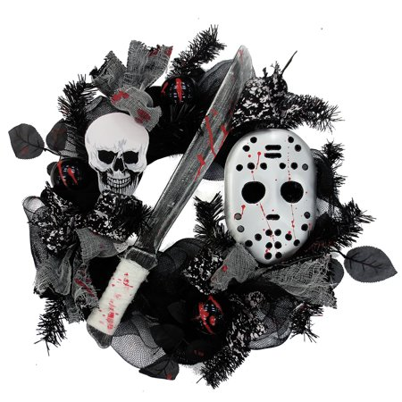 Knife/Mask Mesh Wreath Halloween (Halloween Wreaths)