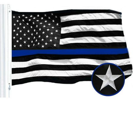 G128 - Thin Blue Line Flag Embroidered 3x5 FT Heavy Duty 220GSM Tough Spun Polyester U.S. American Flag Brass Grommets Honoring Men Women Law Enforcement Black White Blue US