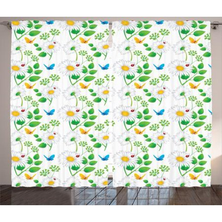 Flower Curtains 2 Panels Set, Macro Chamomiles and Ladybugs Illustration Playful Magic Spirits of the Nature , Living Room Bedroom Decor, White Green, by Ambesonne (Bug Room Decor)