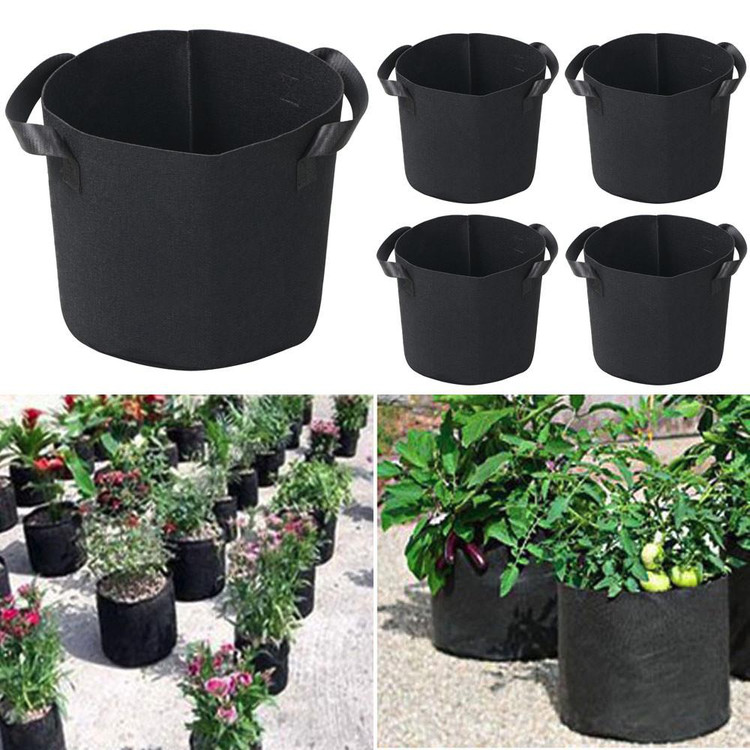 5 Gallon 5pcs Grow Bags with Handles Reusable Non-Woven Fabric Flower Plant Grow Prune Pots Bag,Planting Green Bag,Root Control bag