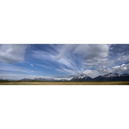 Posterazzi Dramatic Clouds Over Pioneer Peak And The Palmer Hay Flats Southcentral Alaska Canvas Art   Hal Gage  Design Pics  44 X 14