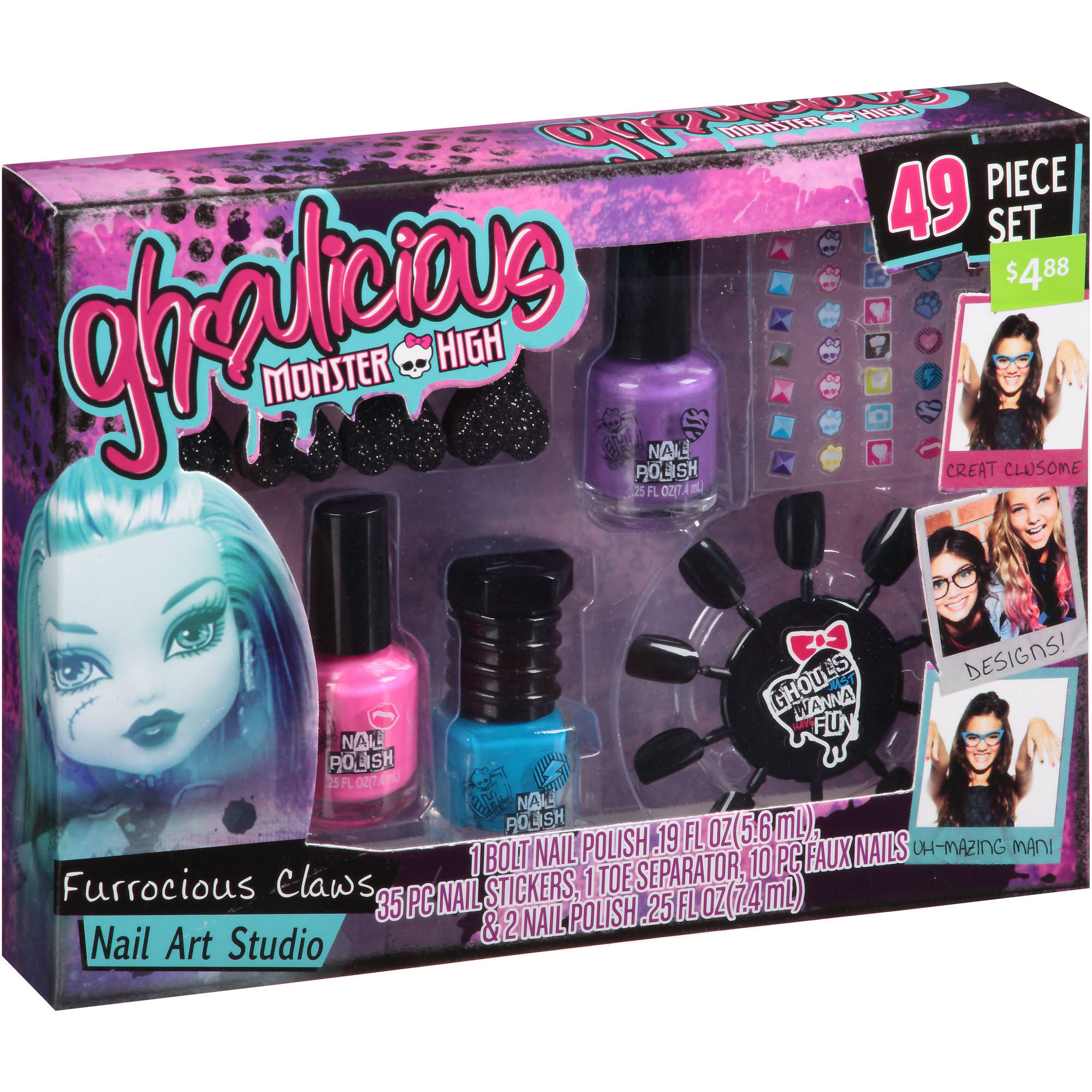 Monster High Ghoulicious Furrocious Claws Nail Art Studio Set, 6 pc ...