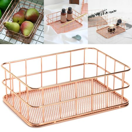 Pro Space Metal Wire Mesh Organizer Desktop Finishing Grid Wire Mag File Holder Fruit Snacks Tray, Rose Gold ()
