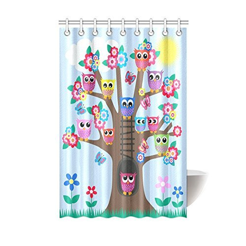 ARTJIA Funny Owl Home Decor Cute Owls on Tree Best Friends Forever Design for Friendship Decor for Teens and Girls Bathroom Shower Curtain 48x72 Inches, Blue Brown Green Yellow