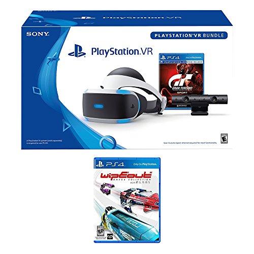PlayStation VR Racing Bundle (4 Items): PlayStation VR Headset, PSVR Camera, PSVR Gran Turismo Bundle Game, PSVR Wipeout Omega Collection Game