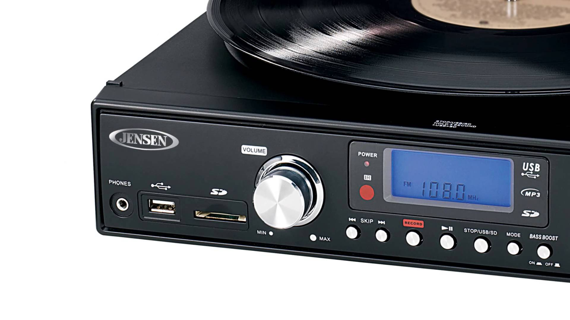 Jensen Professional 3-Speed Stereo Turntable with MP3 Encoding System and AM FM Stereo Radio, Built-in Stereo Speakers,... by Jensen