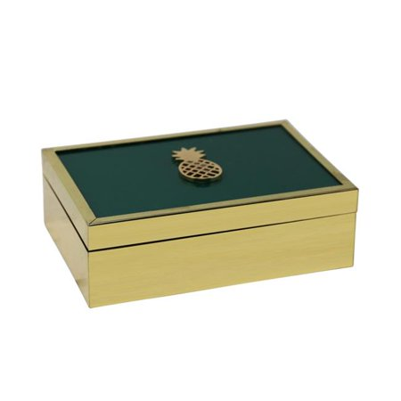 Benzara BM190386 Rectangle Wooden Storage Box with Pineapple Accent & Glass Inlaid Top - Gold & Green - 7.5 x 5.25 x 2.25 - Glass Inlaid Top