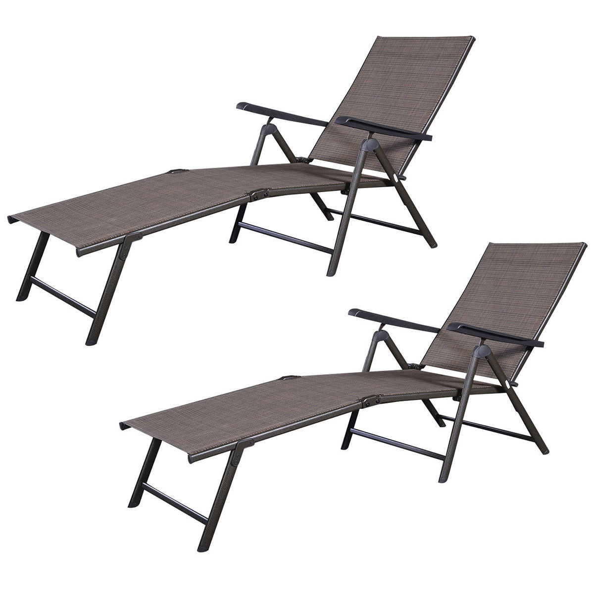 GHP 2-Pcs Steel & Textilene Adjustable Angle Back Rest Chaise Lounge Recliner Chairs