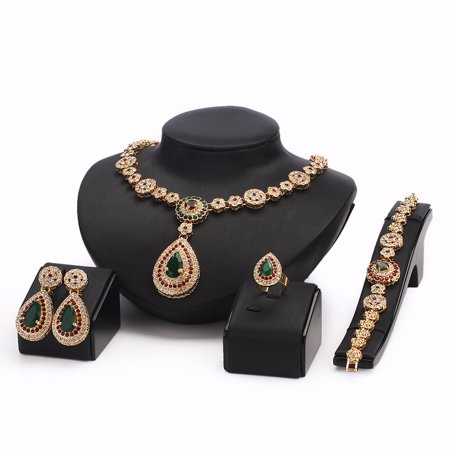 Women Gold Plated Jewelry set Red & Green Beads Oval Pendant Necklace Earrings Bracelet Ring