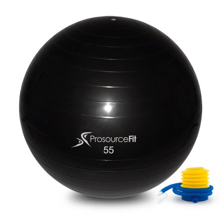 prosourcefit stability exercise ball with foot pump black 55 65 cm or 75 cm anti burst up to. Black Bedroom Furniture Sets. Home Design Ideas