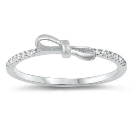 Clear Cubic Zirconia Bow Tie Ring Sterling Silver Size 7](Bow Tie Ring)