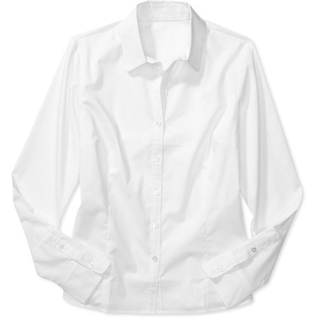 George - Women's Long-Sleeve Button-Down Shirt - Walmart.com
