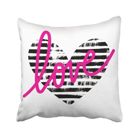 BPBOP Black Graphic Of Striped Heart Paint Lettering Love Ink Abstract Blot Brush Calligraphy Pillowcase Cover 20x20