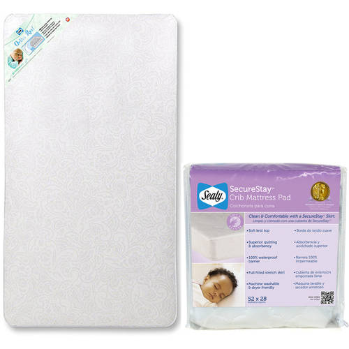 Sealy Crib Mattress with Sealy Crib Mattress Pad Value Bundle, Your Choice