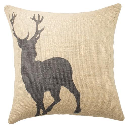 TheWatsonShop Deer Burlap Throw Pillow