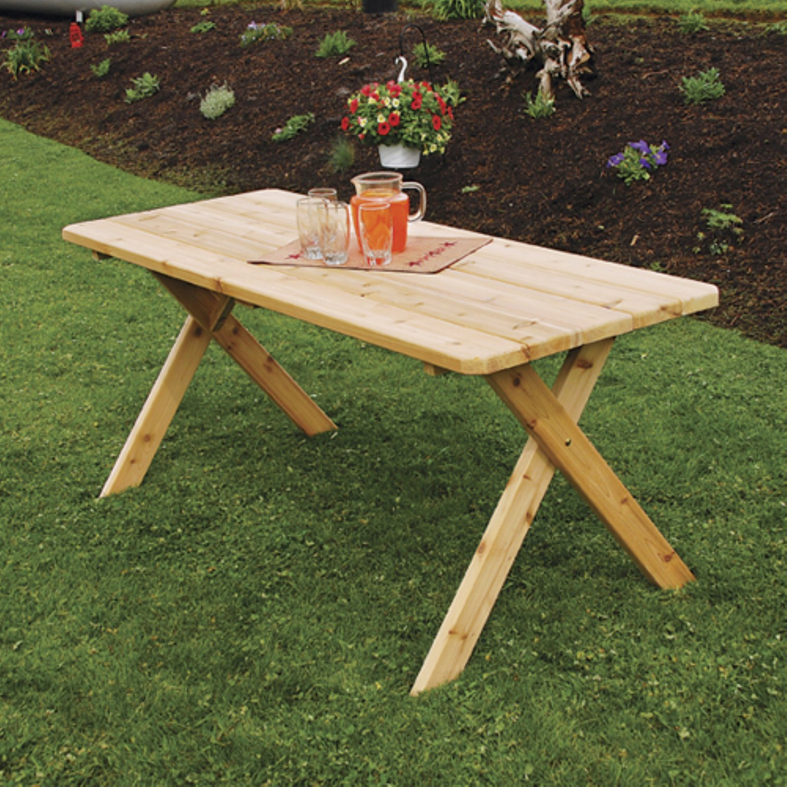 A & L Furniture Western Red Cedar Crossleg Picnic Table