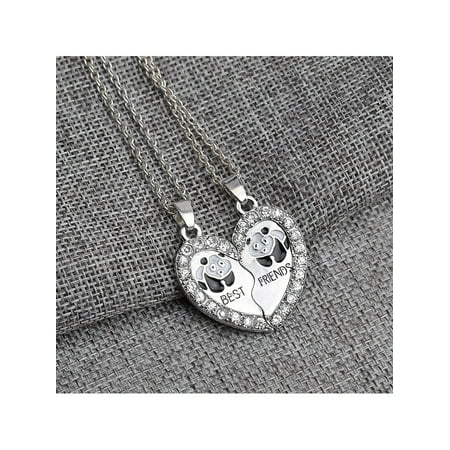 BEST FRIEND Panda Heart Silver Tone 2 Pendants Necklace BFF Friendship