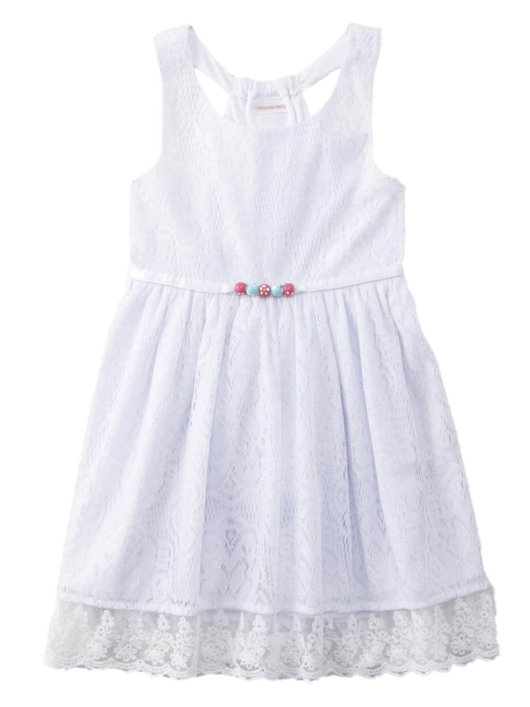 Toddler Girls White Lace Beaded Sun Dress Sundress