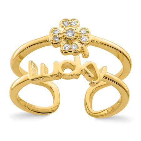 Sterling Silver 12.55 MM Gold-tone CZ Clover Lucky Adjustable Ring