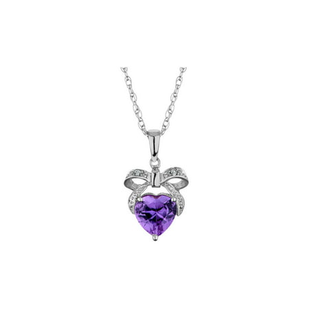 Amethyst Bow and Heart Pendant Necklace with Diamonds 8/10 Carat (ctw) in Sterling Silver with Chain - image 1 de 1