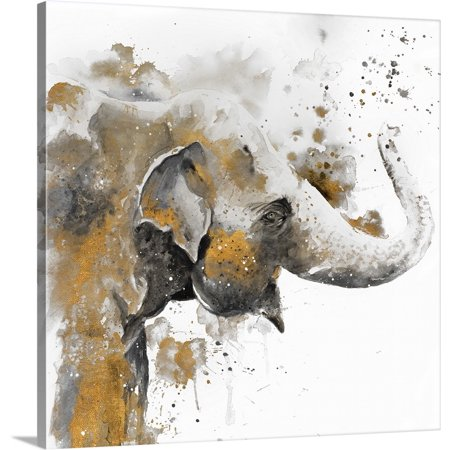 Great BIG Canvas | Patricia Pinto Premium Thick-Wrap Canvas entitled Water Elephant with Gold