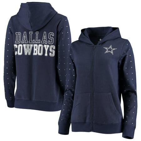 Dallas Cowboys Women's Beauvoir Rhinestone Full-Zip Hoodie - Navy