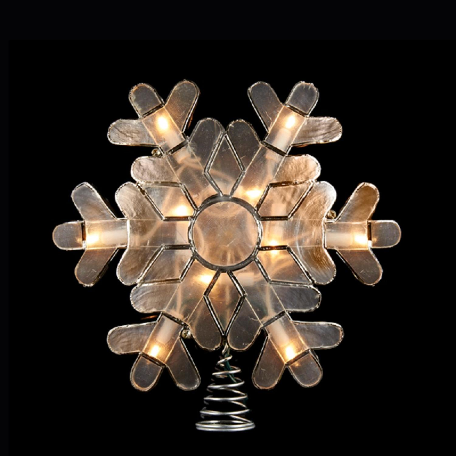 "9"" Lighted Decorative Silver Capiz Shell Snowflake Christmas Tree Topper - Clear Lights"