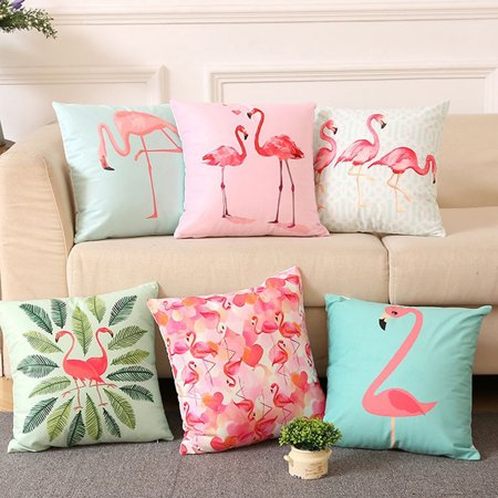 - ZeAofa 18 Inch Summer Flamingo Throw Pillow Case Sofa Bed Home Decor Cushion Cover