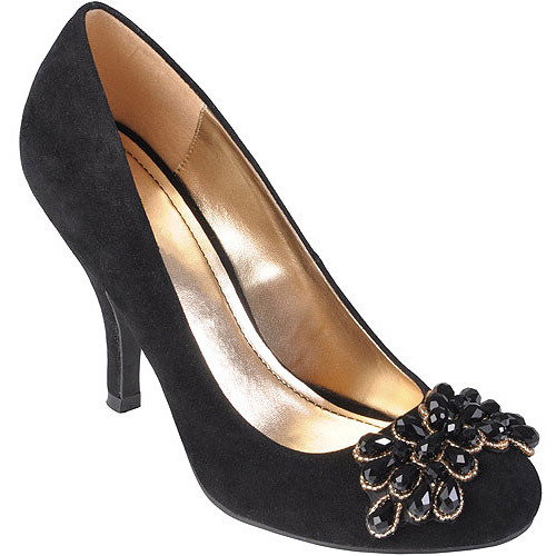 Brinley Co Womens Sueded Round Toe Embellished Pumps