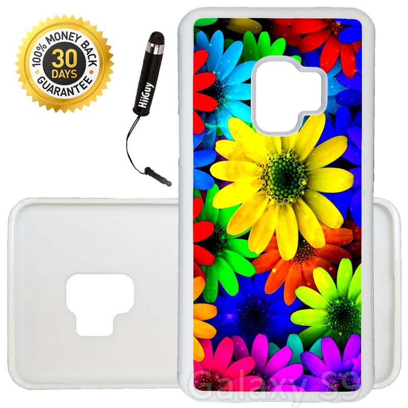 Custom Galaxy S9 Case (Rainbow Sunflower Sparkle) Edge-to-Edge Rubber White Cover Ultra Slim | Lightweight | Includes Stylus Pen by Innosub
