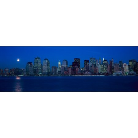 - Panoramic view of full moon rising over lower Manhattan skyline NY where World Trade Towers were located Canvas Art - Panoramic Images (27 x 9)