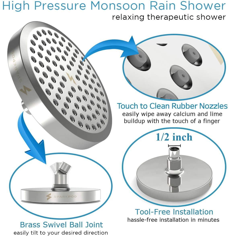 SparkPod Shower Head High pressure rain Luxury Modern Chrome Look Replacement