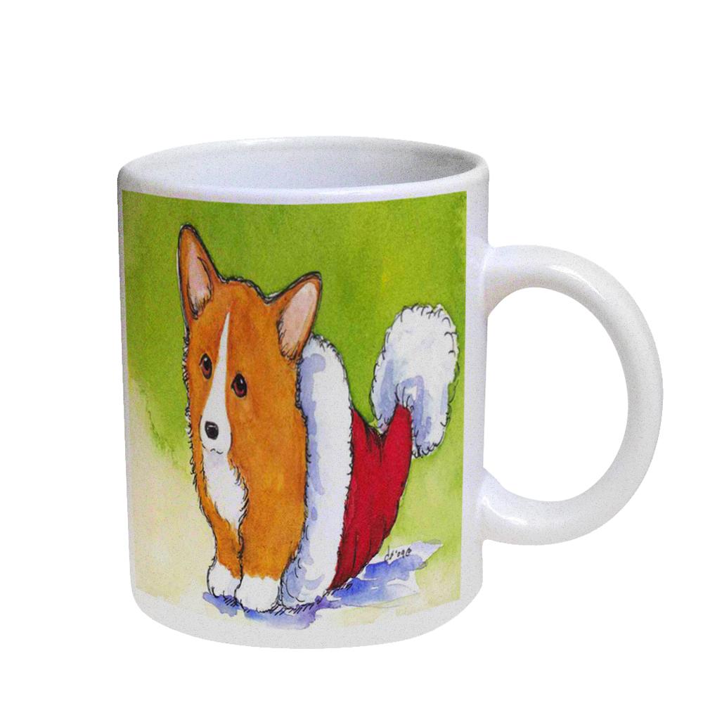 KuzmarK Coffee Cup Mug Pearl Iridescent White - Welsh Corgi Puppy in Santa Hat Christmas Dog Art by Denise Every
