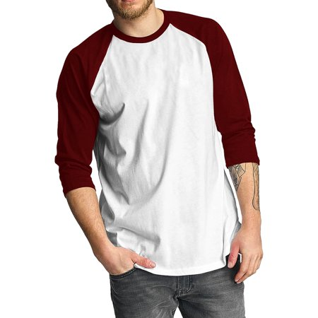 Tangerine Cotton Jersey - Pro Club Mens Baseball Raglan 3/4 Sleeve Casual Raglan Active Cotton Jersey