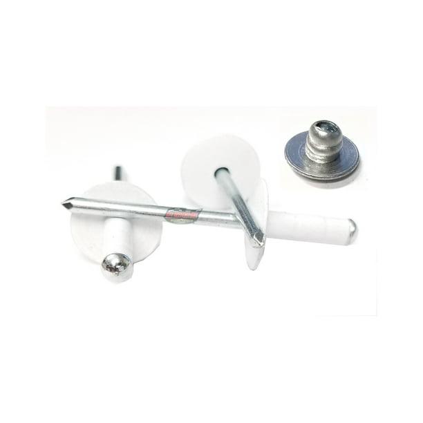 White 3 16 Pop Rivet Large Head Aluminum Steel Mandrel Multi Grip Rivets 25 Pack Walmart Com