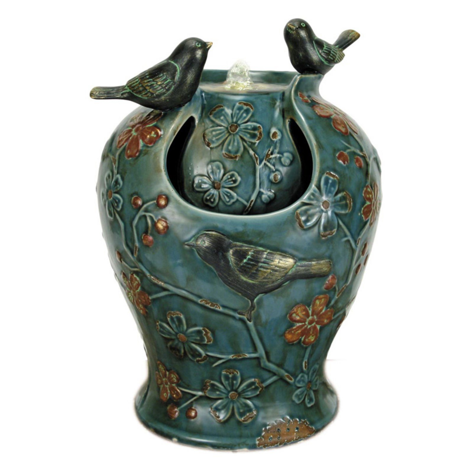 Foreside Home and Garden Blue Verdigris Vase Songbird Fountain