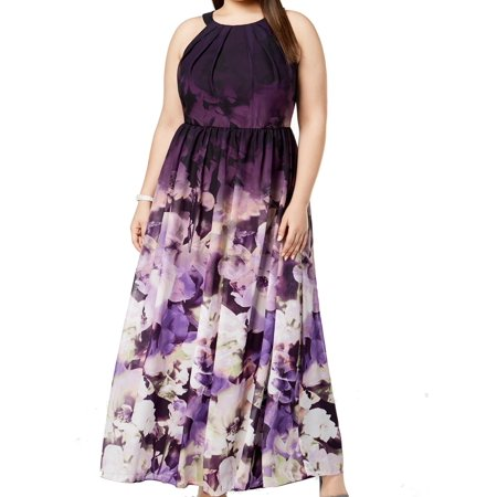 Betsy & Adam Women's Plus Size Floral-Print Halter Gown](Morticia Addams Dresses)