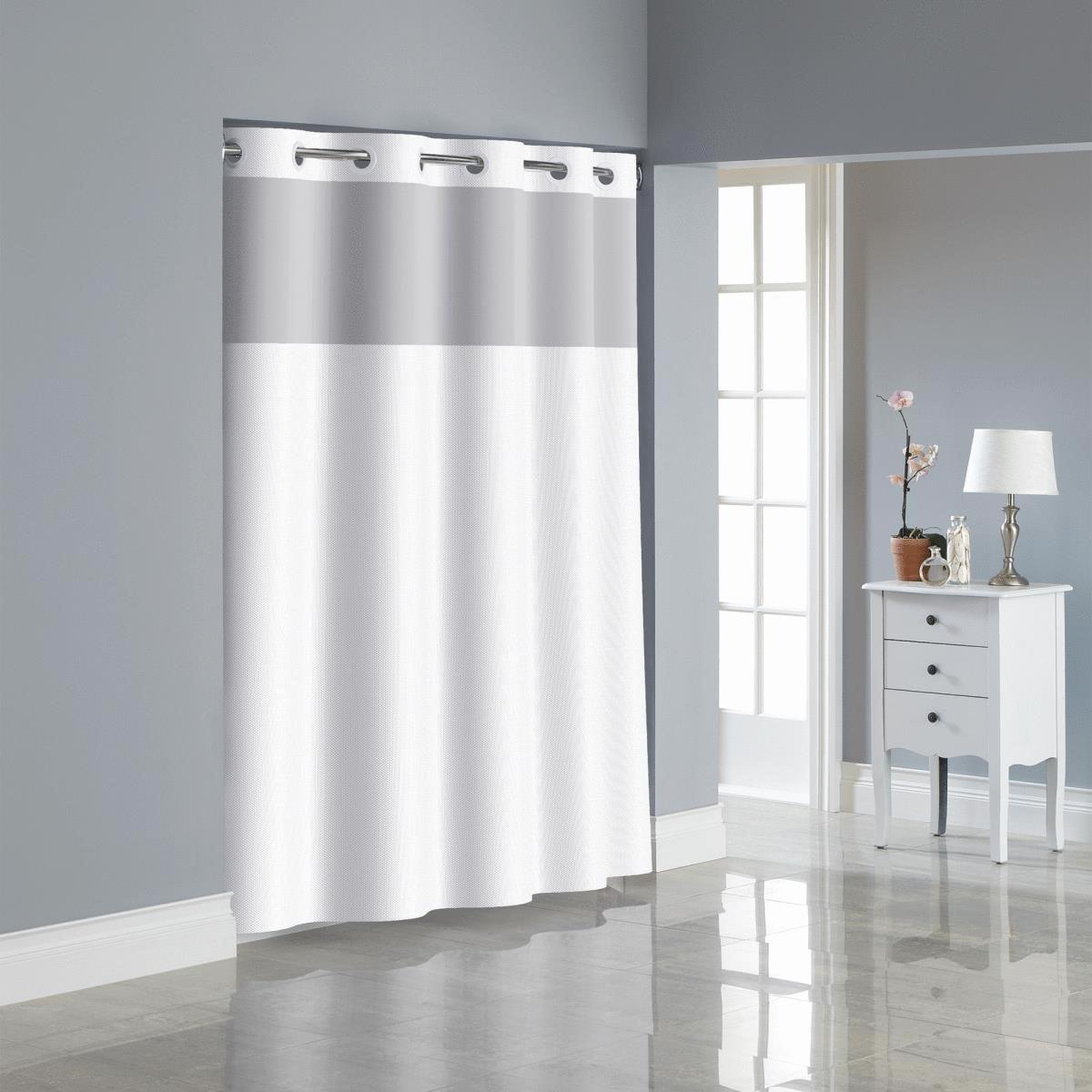 Surefit Bright White Hookless Shower Curtain With Peva Liner 71x74 Walmart Com Walmart Com