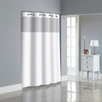 Surefit 71 In. x 74 in. Bright White Hookless Shower Curtain with PEVA Liner