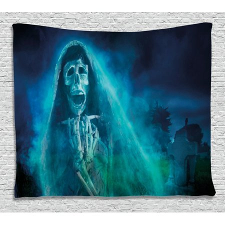 Halloween Decorations Tapestry, Gothic Dark Backdrop with a Dead Ghost Skull Mystical Haunted Horror Theme, Wall Hanging for Bedroom Living Room Dorm Decor, 60W X 40L Inches, Blue, by Ambesonne (Halloween Decorations For Your Bedroom)