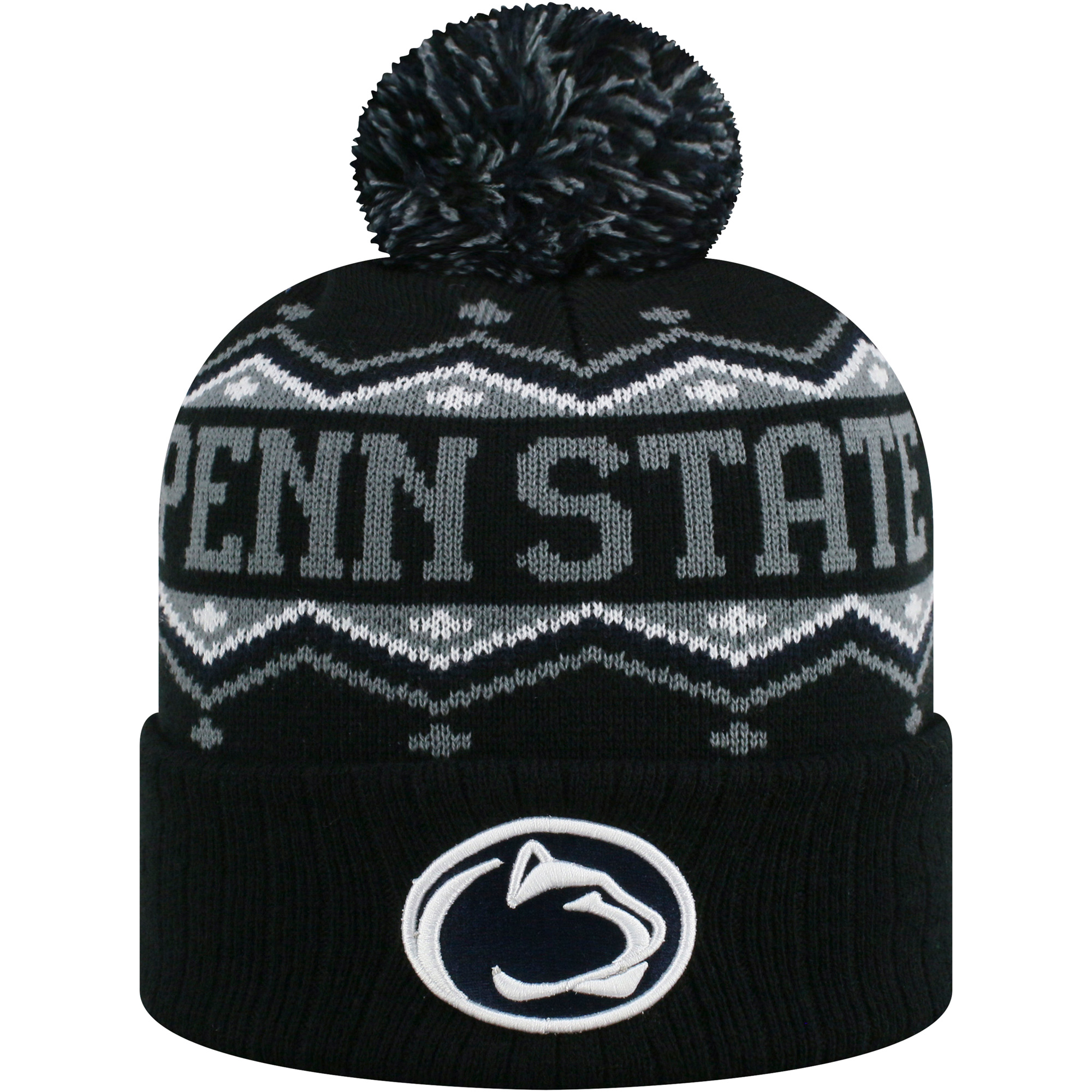 Men's Russell Black/Gray Penn State Nittany Lions Sewn Cuffed Knit Hat With Pom - OSFA