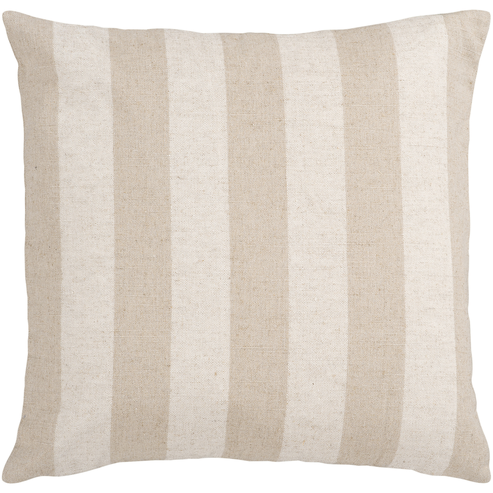 Art of Knot Catlin Hand Crafted Straight-On Stripe Linen and Cotton Decorative Pillow with Poly Filler, Beige