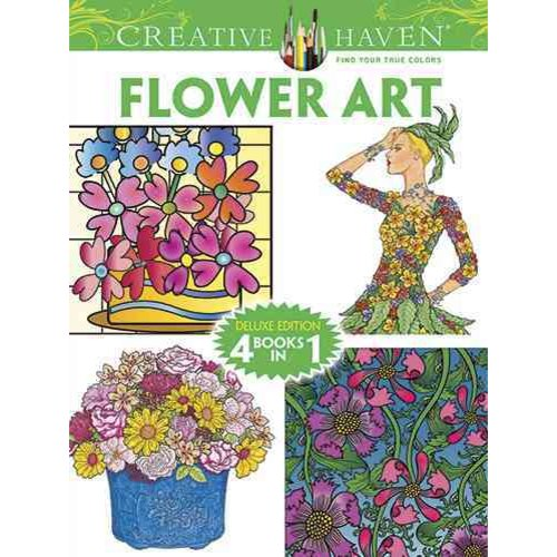 Flower Art Adult Coloring Book: Deluxe Edition 4 Books in 1