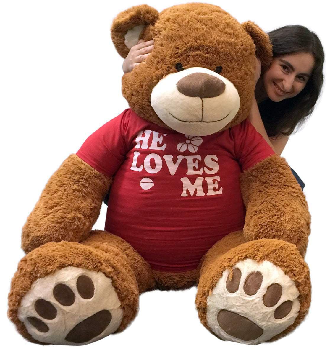 Big Plush 5 Foot Giant Teddy Bear 60 Inch Soft Brown Wears HE LOVES ME T-shirt by BigPlush
